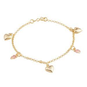 Jewelry - 14K YG Over Sterling Silver Heart Charm Bracelet